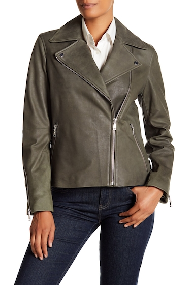 Imbracaminte Femei T Tahari Skylar Leather Jacket OLIVE