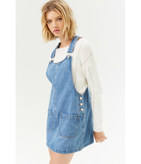 Imbracaminte Femei Forever21 Mini Overall Dress LIGHT DENIM