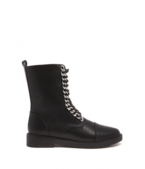 Incaltaminte Femei Forever21 Curb Chain Combat Boots BLACK