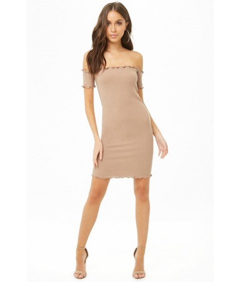 Imbracaminte Femei Forever21 Ribbed Off-the-Shoulder Dress TAUPE