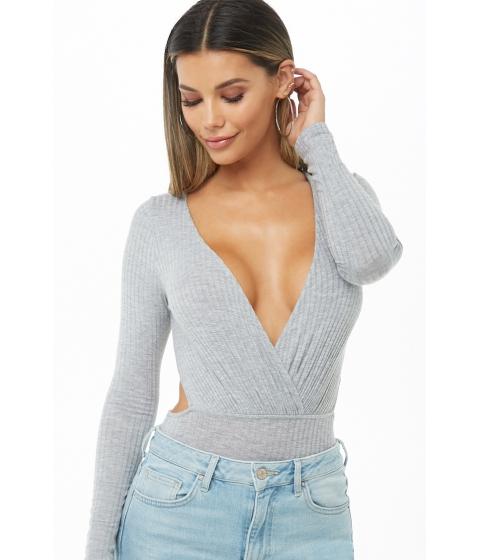 Imbracaminte Femei Forever21 Ribbed Surplice Cutout Bodysuit HEATHER GREY