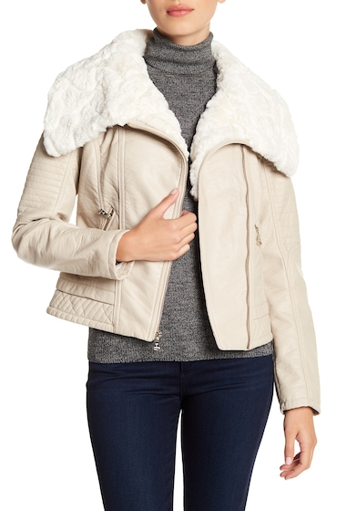 Imbracaminte Femei GUESS Faux Fur Collared Faux Leather Jacket STONE