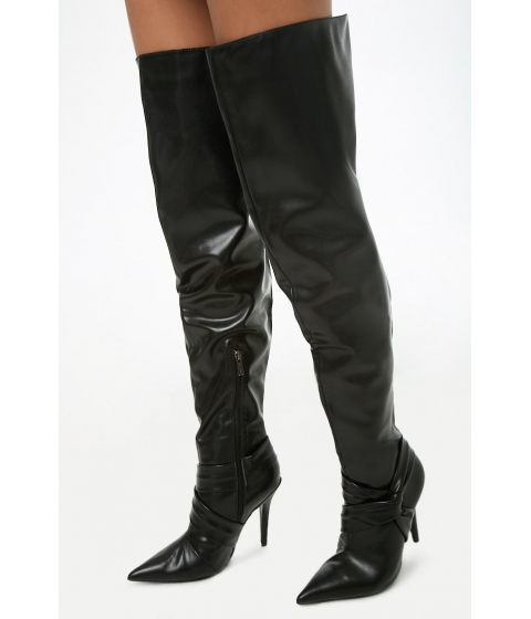 Incaltaminte Femei Forever21 Faux Leather Thigh-High Boots BLACK