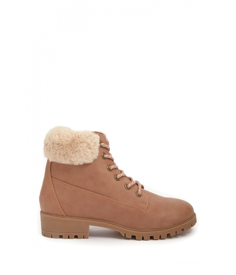 Incaltaminte Femei Forever21 Madden Girl Faux Shearling-Trim Lace-Up Boots BLUSH