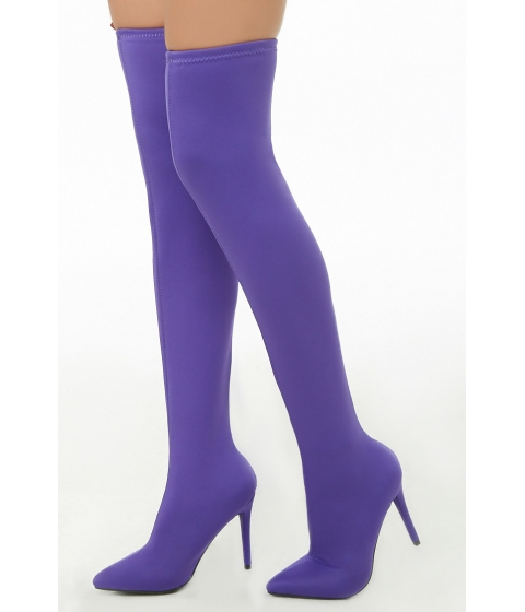 Incaltaminte Femei Forever21 Thigh High Stiletto Sock Boots PURPLE