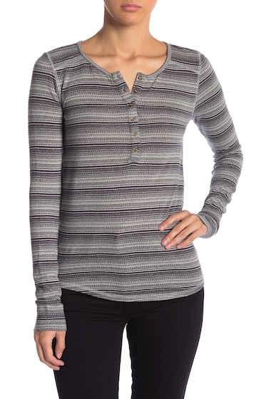 Imbracaminte Femei Lucky Brand Patterned Thermal Henley GREY STRIP