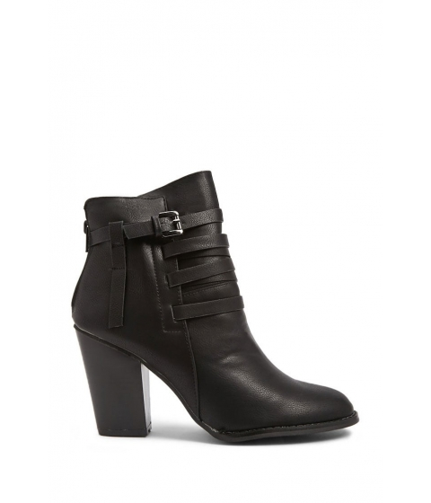 Incaltaminte Femei Forever21 Faux Leather Strappy Booties BLACK