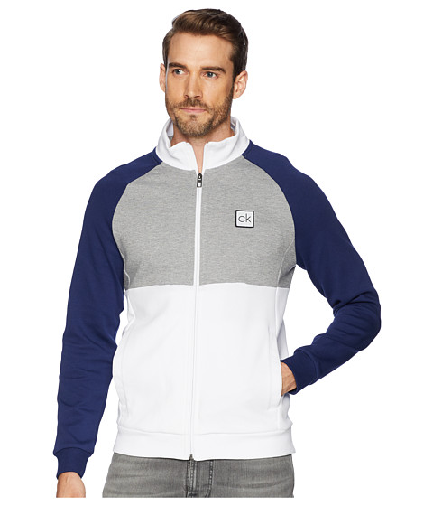 Imbracaminte Barbati Calvin Klein Color Block Mock Neck Full Zip Sweater Brilliant White