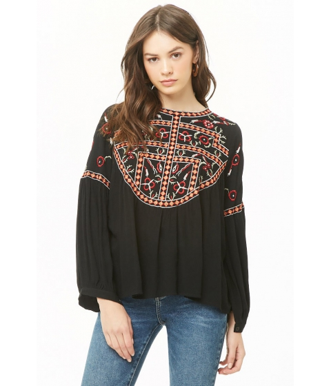 Imbracaminte Femei Forever21 Geo Floral Embroidered Top BLACKMULTI