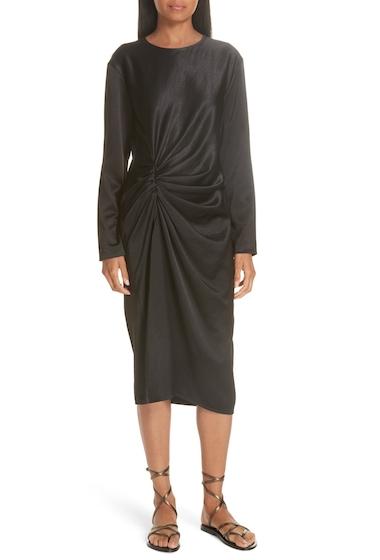 Imbracaminte Femei Helmut Lang Ruched Crinkle Satin Midi Dress BLACK