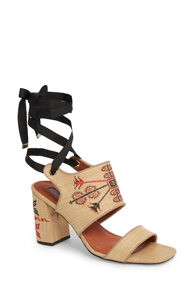 Incaltaminte Femei TOPSHOP Roxanne Embroidered Lace-Up Sandal NUDE MULTI
