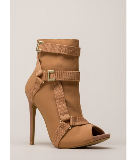 Incaltaminte Femei CheapChic Harness Your Talent Strappy Booties Taupe