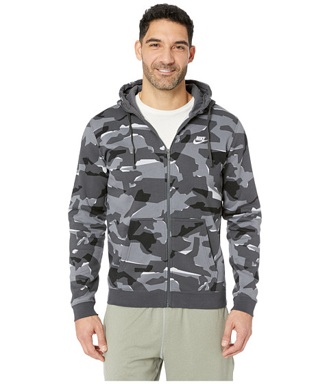 Imbracaminte Barbati Nike NSW Club Camo Hoodie Full Zip BB Cool GreyAnthraciteWhite