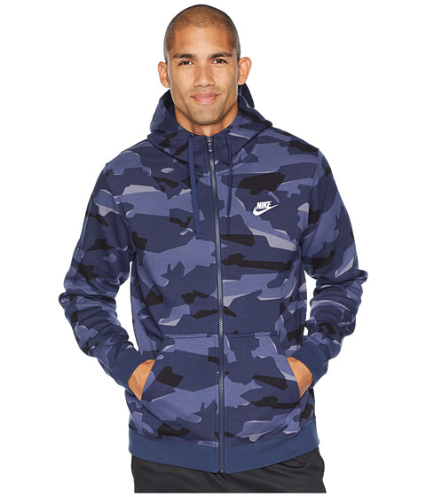 Imbracaminte Barbati Nike NSW Club Camo Hoodie Full Zip BB Midnight NavyMidnight NavyWhite