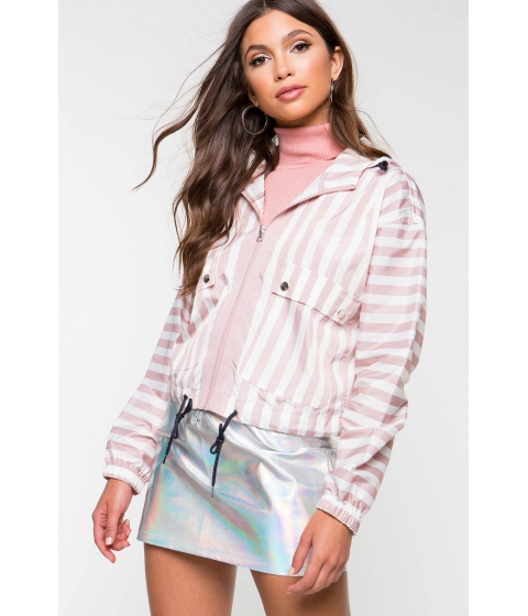 Imbracaminte Femei CheapChic Aura Stripe Windbreaker Jacket FuchsiaPink Pattern