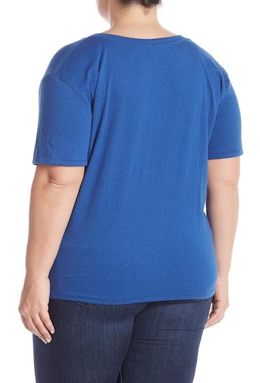 Imbracaminte Femei BP V-Neck Short Sleeve Tee Plus Size BLUE MONACO