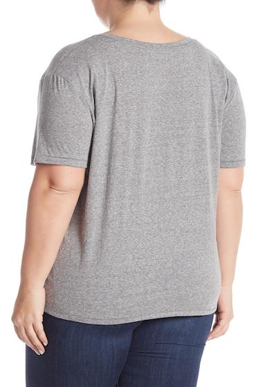 Imbracaminte Femei BP V-Neck Short Sleeve Tee Plus Size GREY CLOUDY HEATHER