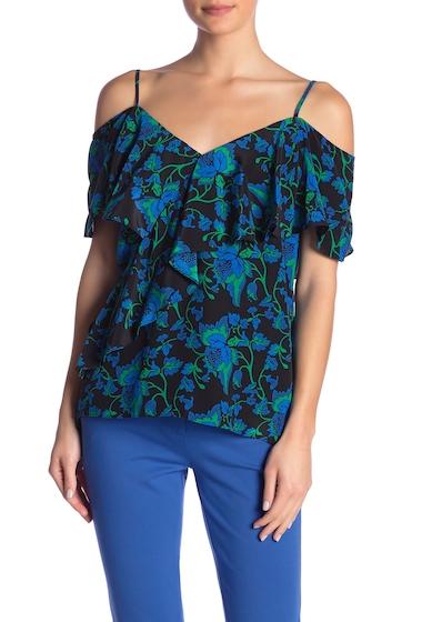 Imbracaminte Femei Diane Von Furstenberg Silk Patterned Ruffle Front Blouse WAYLEN BLACK