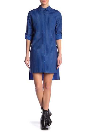 Imbracaminte Femei Diane Von Furstenberg Prita Striped Hi-Lo Button Down Dress BRIGHT BLU