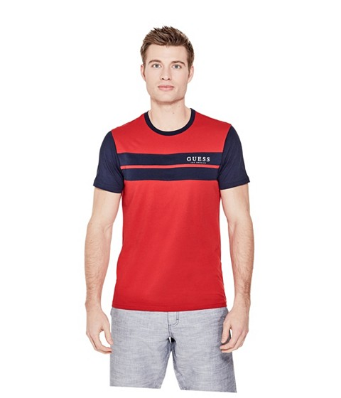 Imbracaminte Barbati GUESS Thom Color-Block Logo Tee rugby red