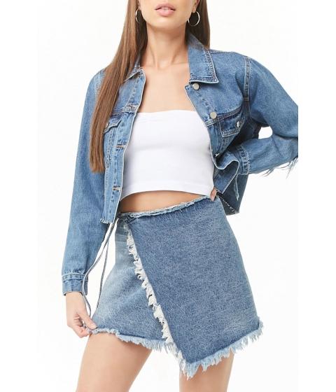 Imbracaminte Femei Forever21 Momokrom Distressed Wrap Denim Skirt BLUE