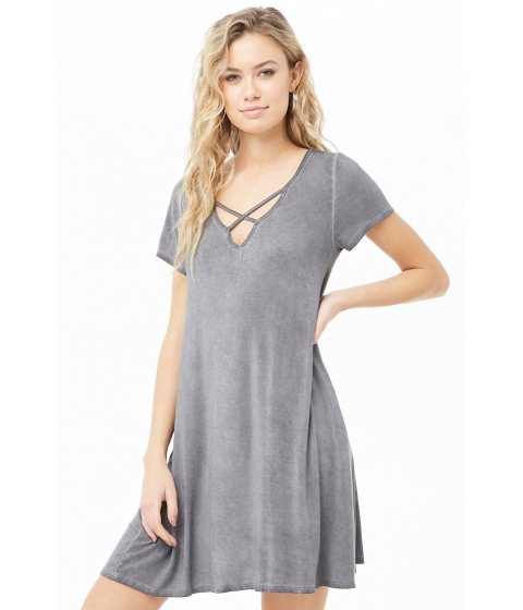 Imbracaminte Femei Forever21 Crisscross V-Neck T-Shirt Dress GREY