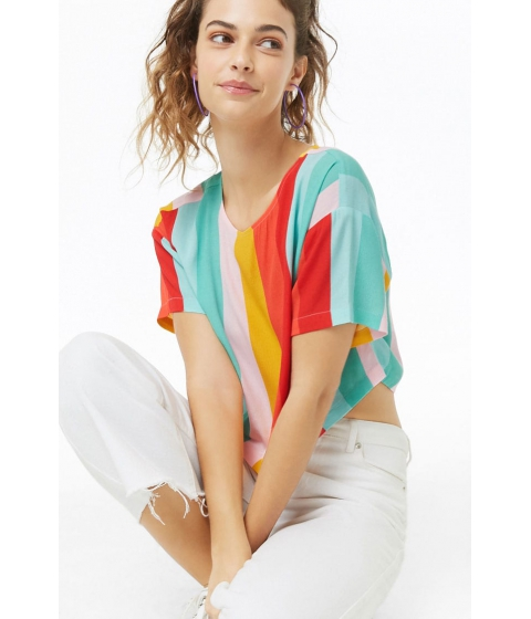 Imbracaminte Femei Forever21 Multistriped Boxy Top REDMULTI