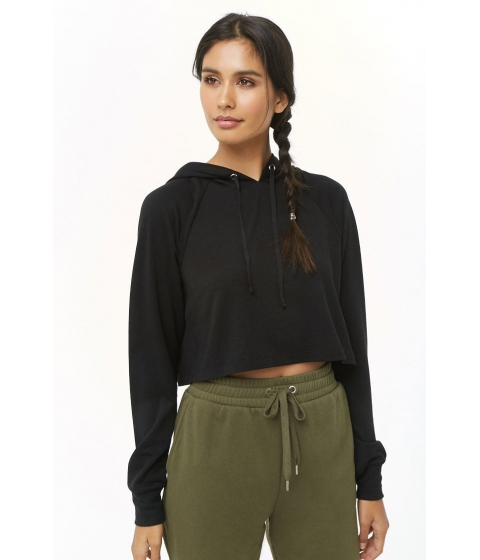 Imbracaminte Femei Forever21 Active Hooded Crop Top BLACK