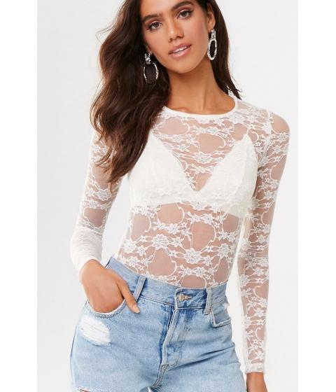 Imbracaminte Femei Forever21 Sheer Floral Lace Bodysuit CREAM