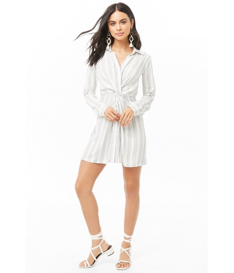 Imbracaminte Femei Forever21 Striped Shirt Dress IVORYBLACK