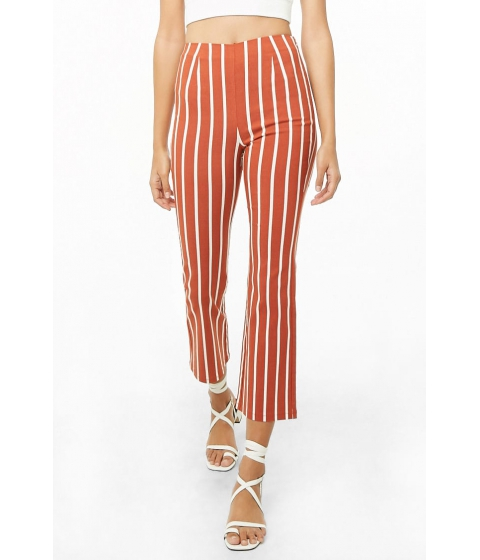 Imbracaminte Femei Forever21 Striped Straight-Leg Ankle Pants RUSTIVORY
