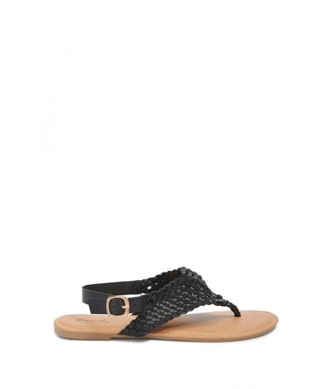 Incaltaminte Femei Forever21 Basketweave Thong Sandals BLACK