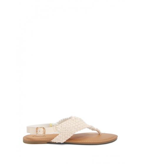 Incaltaminte Femei Forever21 Basketweave Thong Sandals NUDE