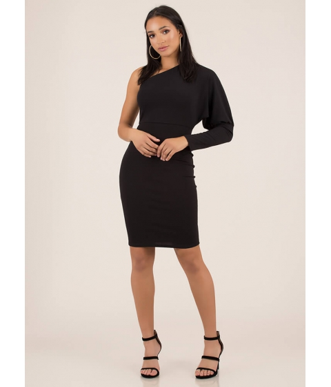 Imbracaminte Femei CheapChic Evening Asymmetrical Puffy Sleeve Dress Black