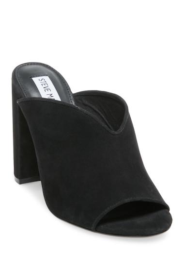 Incaltaminte Femei Steve Madden Vista Open Toe Block Heel Mule BLK NUBUCK