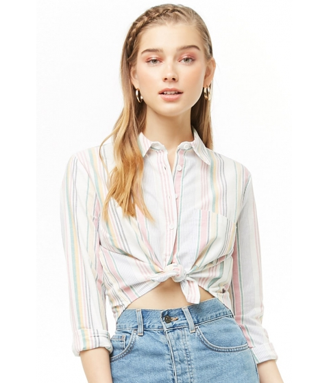 Imbracaminte Femei Forever21 Multicolor Striped Curved-Hem Shirt IVORYMULTI