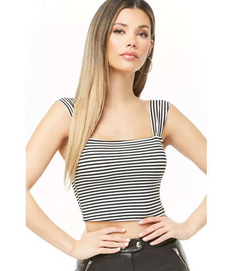 Imbracaminte Femei Forever21 Striped Ribbed Top BLACKWHITE