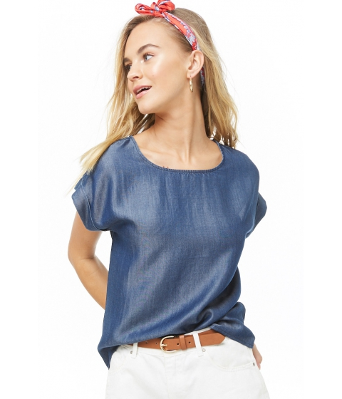 Imbracaminte Femei Forever21 Cuffed-Sleeve Chambray Top DARK DENIM