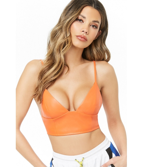 Imbracaminte Femei Forever21 Faux Leather Cropped Cami ORANGE