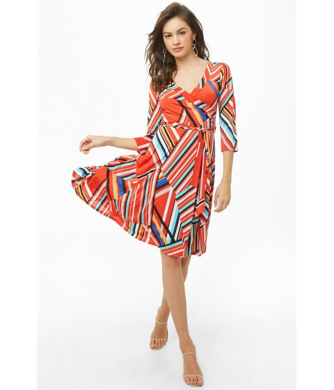 Imbracaminte Femei Forever21 Abstract Geo Print Dress REDMULTI