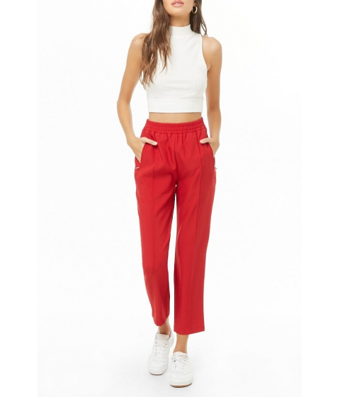 Imbracaminte Femei Forever21 High-Waist Straight Leg Pants RED