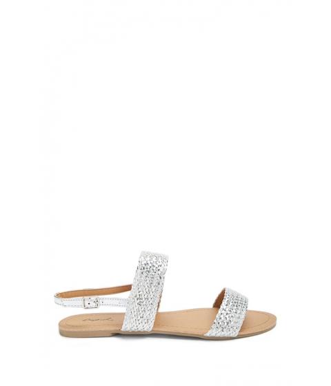 Incaltaminte Femei Forever21 Braided Metallic Sandals SILVER