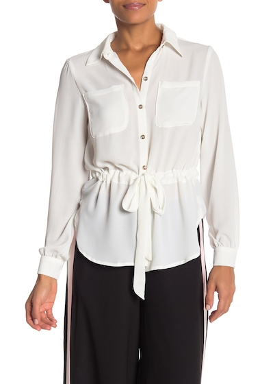 Imbracaminte Femei ECI Solid Button Front Drawstring Shirt WHITE
