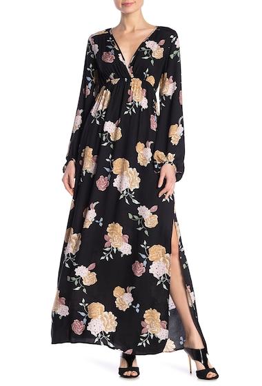 Imbracaminte Femei Love Stitch Blouson Sleeve Floral Print Slit Maxi Dress BLACKBLUSH