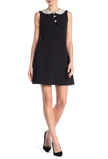Imbracaminte Femei Betsey Johnson Embellished Peter Pan Collar Scuba Crepe Dress BLACK