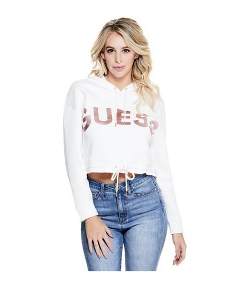 Imbracaminte Femei GUESS Deya Metallic Logo Hoodie pure white