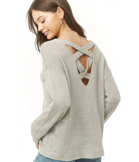 Imbracaminte Femei Forever21 Slub Knit Lace-Back Sweater LIGHT GREY