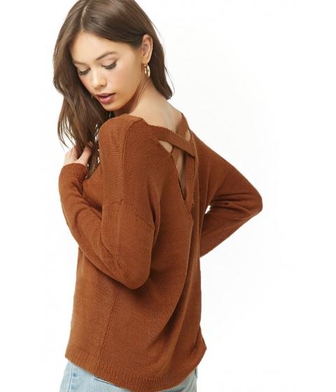 Imbracaminte Femei Forever21 Slub Knit Lace-Back Sweater GINGER