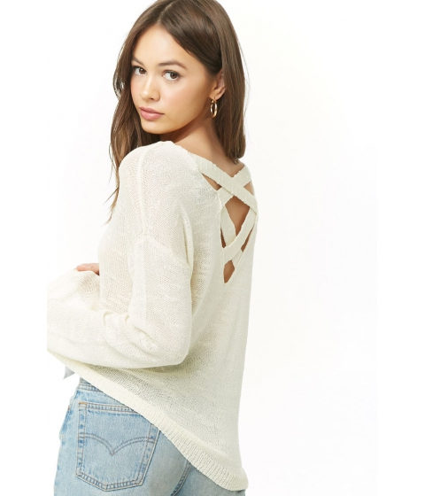 Imbracaminte Femei Forever21 Slub Knit Lace-Back Sweater CREAM