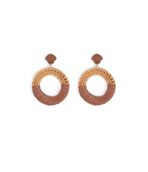 Bijuterii Femei Forever21 Seashell Wicker Hoop Drop Earrings BROWN